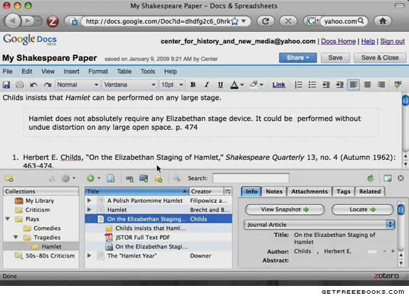 Zotero Screenshot 2 - Originally Posted at www.getfreeebooks.com