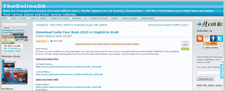 Download India Year Book 2010 in English & Hindi