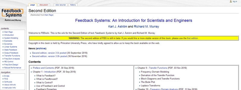 Feedback Systems: An Introduction for Scientists and Engineers  by Karl J. Åström and Richard M. Murray
